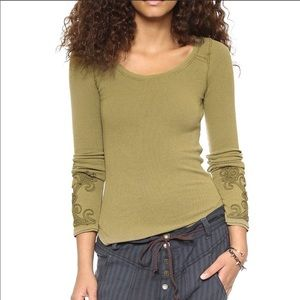 Free People Masquerade Sleeve Green Thermal Top